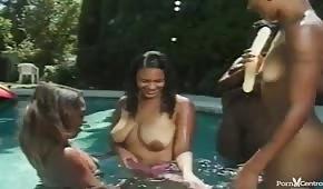 Czekoladowe lesbijki pieszczą się po cycach w basenie